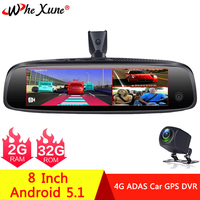 WHEXUNE Special Bracket 3 CH Car DVR ADAS 4G Android 2+32GB Rearview Mirror Full HD 1080P Auto DashCam Camera For Taxi 2019 New