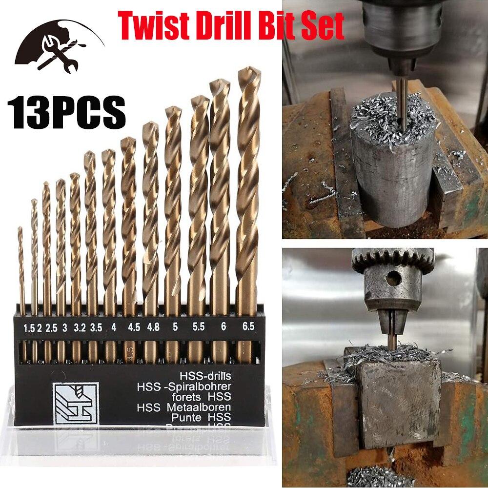 Кобальтовое сверло набор M35 HSS Метрическая с цилиндрическим хвостовиком сверло термостойкие металлические перовые сверла биты 1,5 6,5 мм (13 шт.)|Сверла|   | АлиЭкспресс