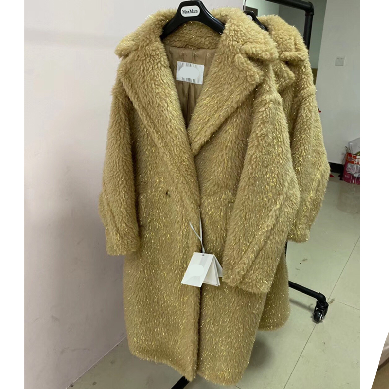 Women's Coat Gold Silk Teddy Bear Fur Coat Women Alpaca Coat Women Wool Coat Loose Coat 2020 Winter Thicken Coat High-end Coat