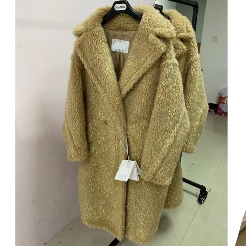 Women's Coat Gold Silk Teddy Bear Fur Coat Women Alpaca Coat Women Wool Coat Loose Coat 2020 Winter Thicken Coat High-end Coat