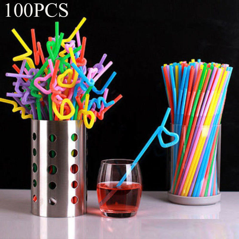 100pcs Extra Long Flexible Stripes Straws Drinking Bendy Home Party Bar Supplies