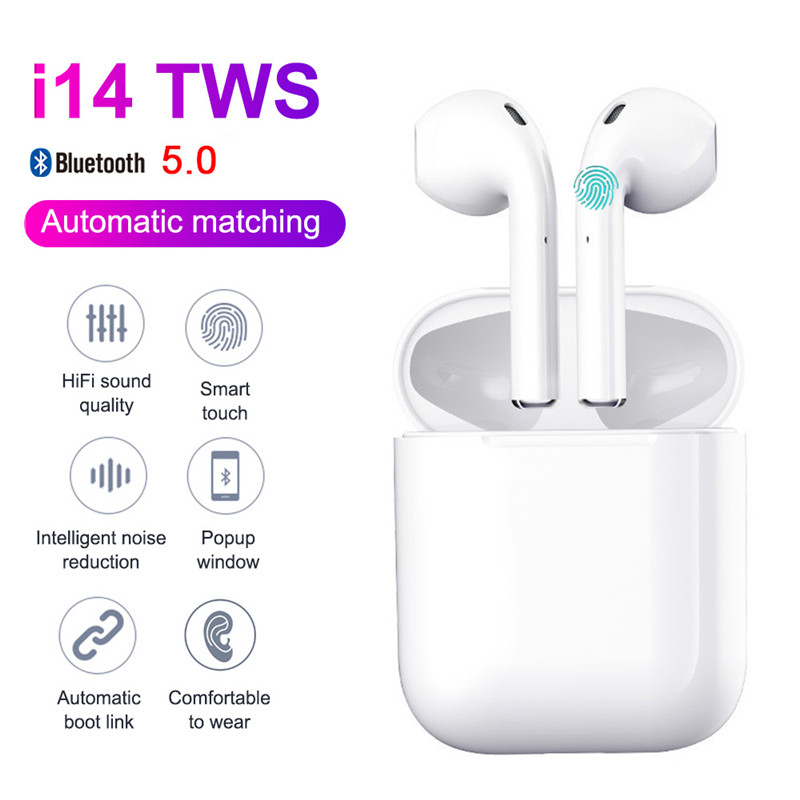<font><b>Original</b></font> <font><b>i14</b></font> <font><b>TWS</b></font> Bluetooth 5.0 True Wireless Earphones Bluetooth Headset Earbuds 3D Stereo Bass Touch Control Invisible Earbuds image