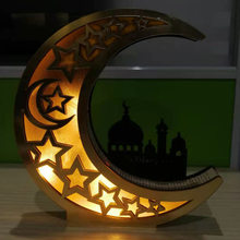 Houten Eid Al Fitr Ramadan Spiegel Gouden Maan Kasteel Hollow Letters Met Led-verlichting Tafel Decoratie Ambachten Islamitische Moslim Party