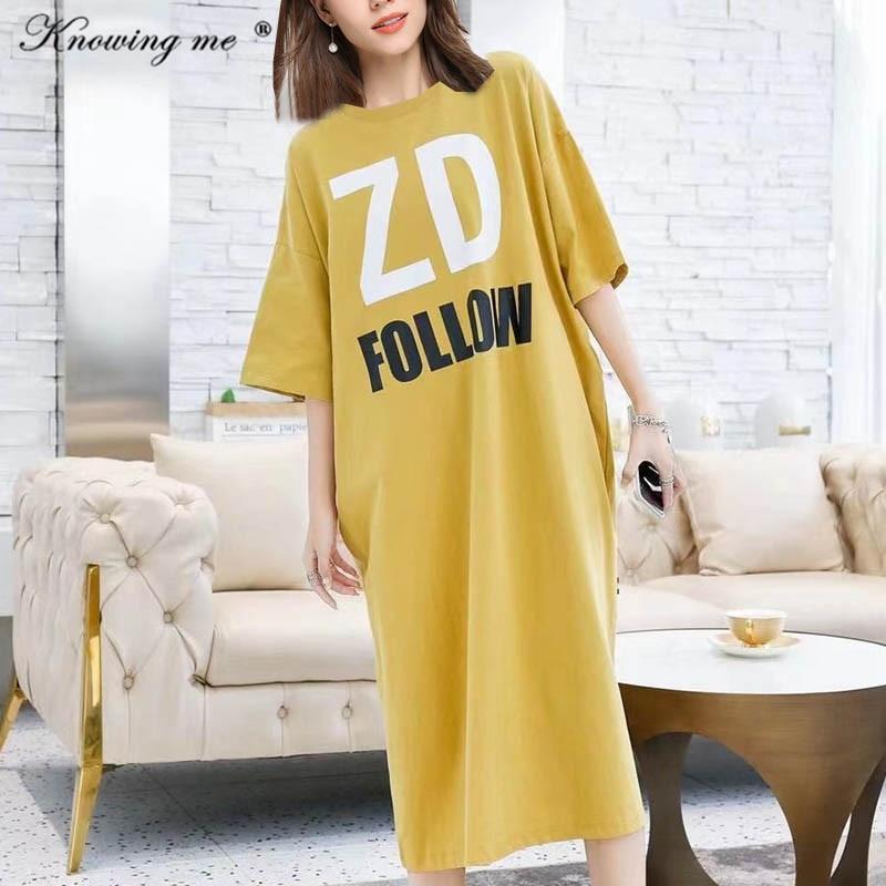 2021 Fashion Loose style dress Women Summer Letters print oversized dress Elegant casual O neck Boho Beach Dress Female vestidos