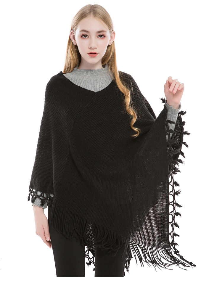 Panço kış uzun kollu kadın hırka yün rahat püskül büyük boy hırka kadın şal etek saçak bayan kazak ceketler