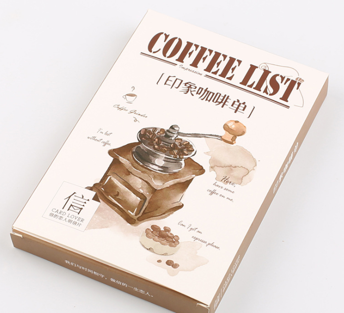 A86- Coffee List Paper Postcard(1pack=30pieces)