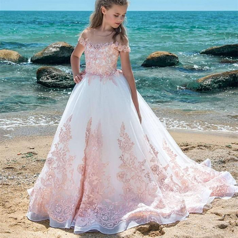 New Lace Flower Girl Dresses Pageant With Blush Pink Applique A Line Sheer Neck Sweep Train Teens Birthday Party Communion Gowns