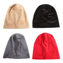 Women Men Winter Velvet Baggy Slouchy Beanie Hat Solid Color Stretchy Soft Sleeping Cap Headwraps for Hair Loss Cancer Chemo outdoor plaid velvet baggy beanie