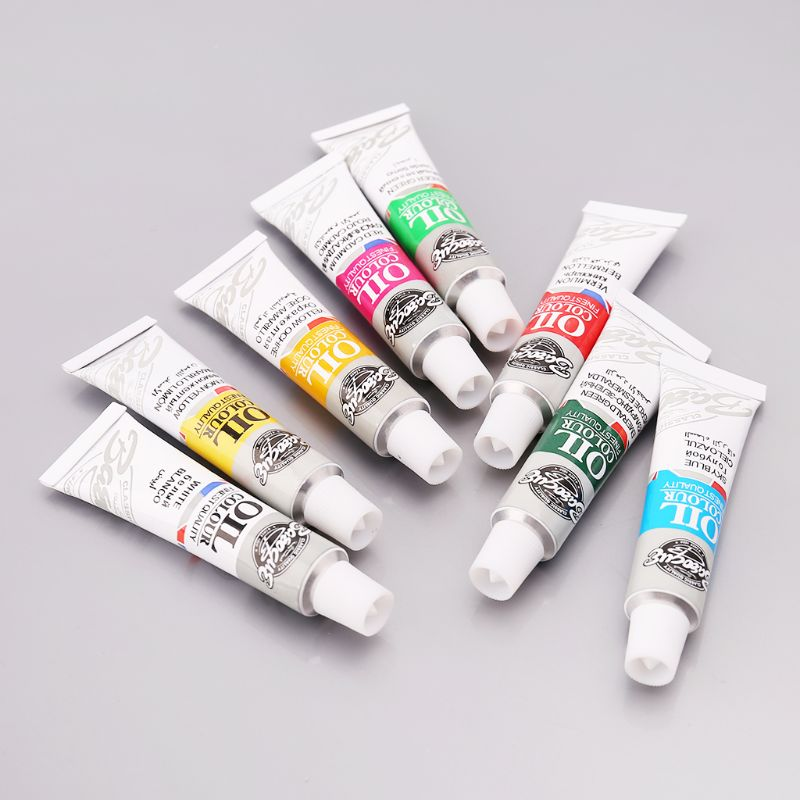 12 Colors Acrylic Paint Drawing Pigment Oil Painting 6ml Tube With Brush Set Artist Supplies Pigment Powder