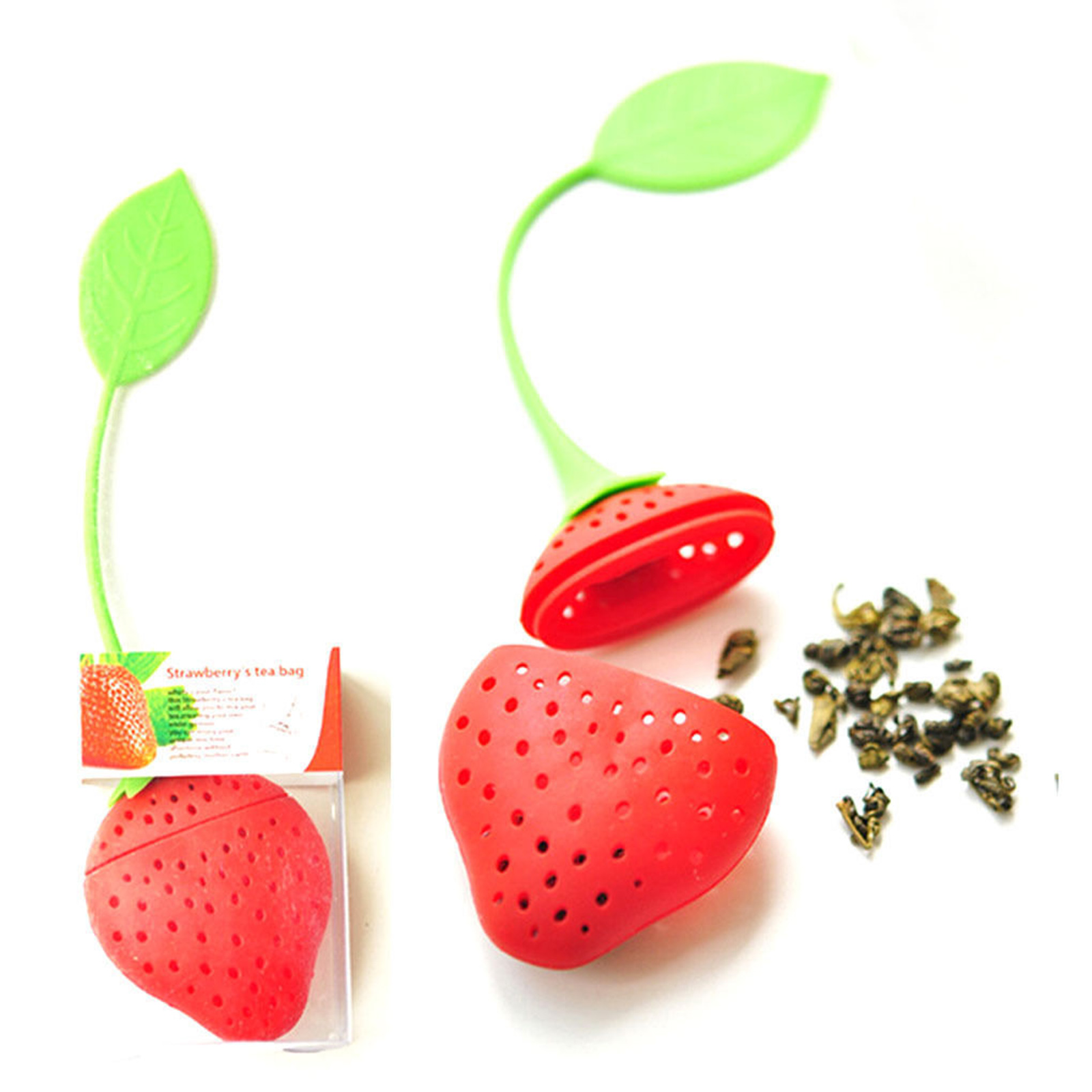 1PCS Kitchen Supplies Tea Strainer Non-toxic Strawberry Shape Silicone Tea Infuser Tea Bag Teapot Accessory