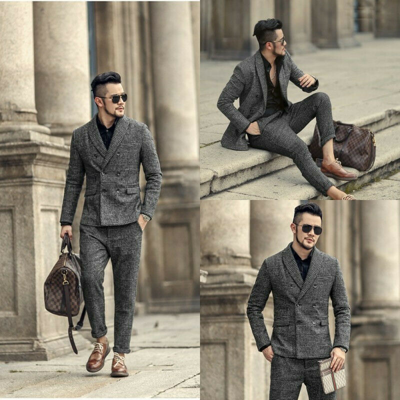 Casual Men Suits 2 Piece Double Brested Wedding Groom Best Man Tuxedos Blazers