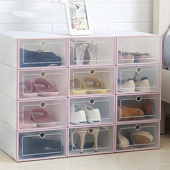 1pc Transparent Shoe Box Durable Drawer Case Thickened Dustproof Shoe Organizer Box Can Be Superimposed Combination Shoe Cabinet image