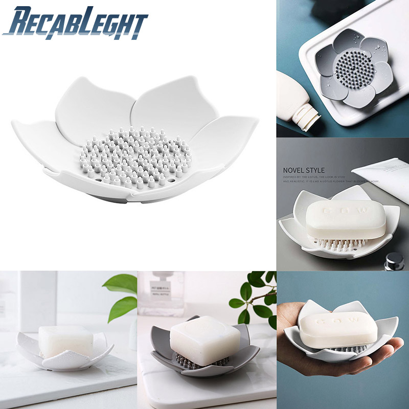 Petal Shape Soap Box Silicone With Drain Holes Anti-Slip Bathroom Soap Kitchen Sponge Holder Flower Soap Tray Durable And Safe