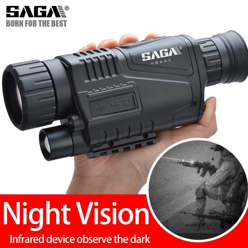 SAGA Digital Infrared Night Vision Monocular Scope 5 Zoom Visor Nocturno Imager For Hunting Camping Outdoor Hunter Telescope