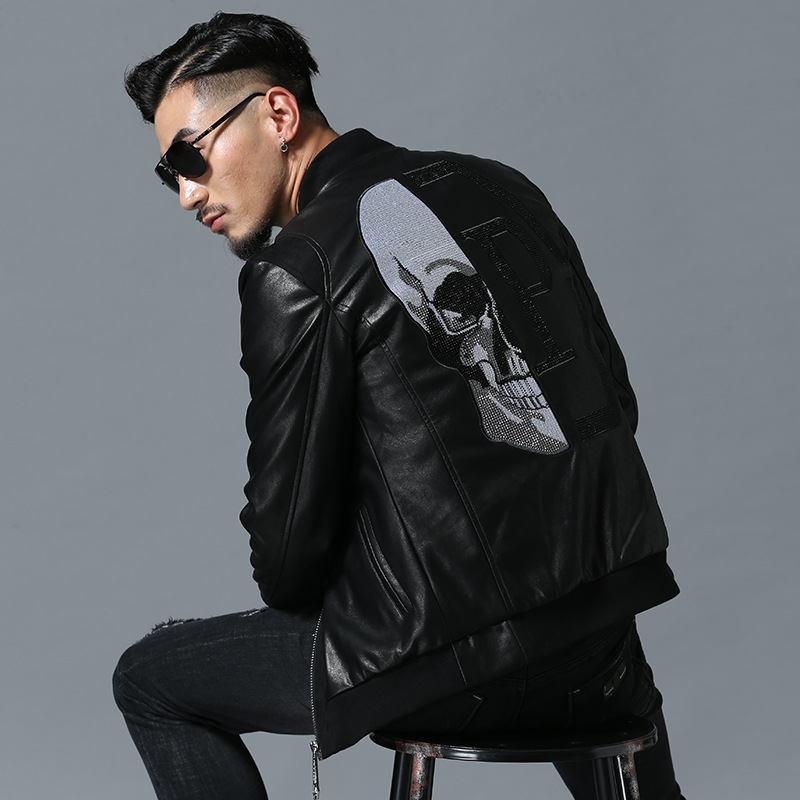 2018 Skull Rhinestones PU Jackets Men High Street Style Stand-Neck Sudaderas Hombre Rib Sleeve Streetwear Mens Jackets and Coats
