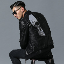 2021 Skull Rhinestones PU Jackets Men High Street Style Stand-Neck Rib Sleeve Streetwear Mens Jackets and Coats