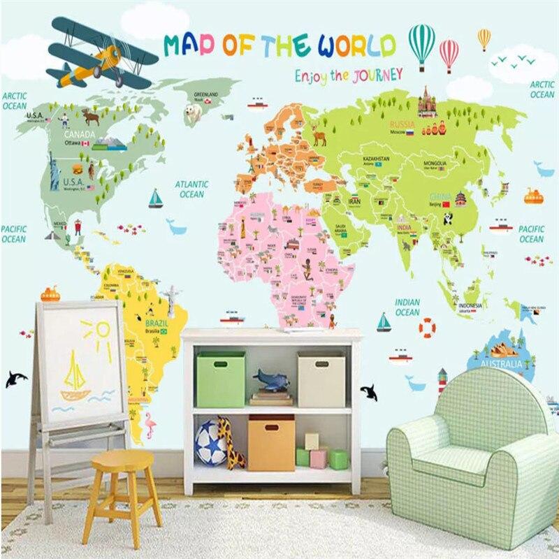 Custom Cartoon Children Room The World Map Light Green Background