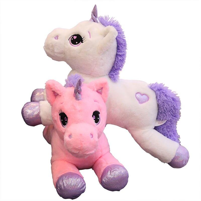 1 шт. epacket 60 110 см Гигантский Размер, лежащий Единорог, плюшевая игрушка, мягкие Мультяшные игрушечные единороги, лошадь, высокое качество, рож