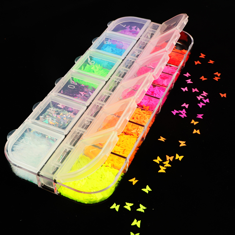 12 Grid/Set Fluorescence Butterfly Sequins Nail Art Glitter Slices Flakes 3D Mixed Color Sparkly Gel Polish Manicure Decorations