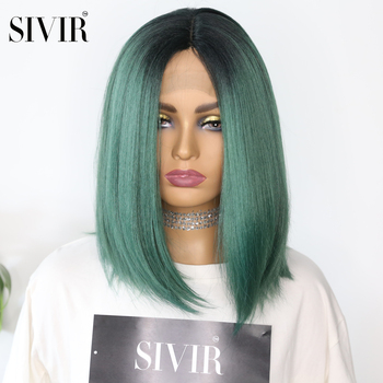 Sivir Medium Transparent Synthetic Hair Lace  Wig High Temperature Fiber Yaki Straight Short Bob Blunt Lace Wig Middle Part james blunt