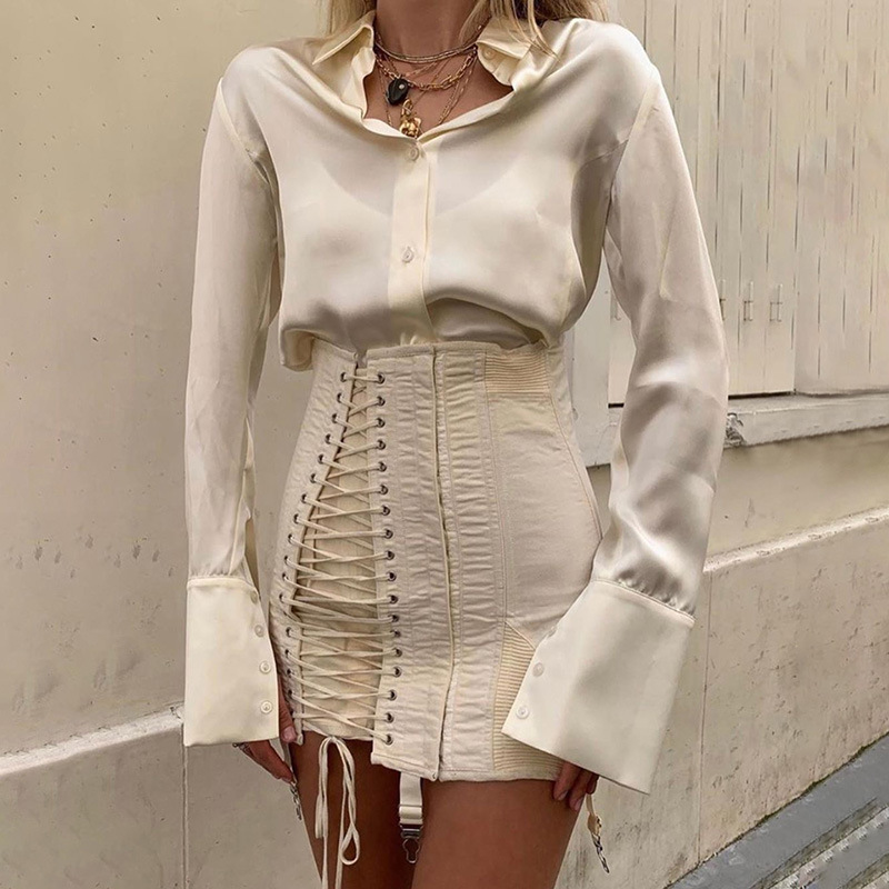 Sexy High Waist Straps Skirt Female 2019 Autumn Design Woman Short Skirt Lace Sexy Mini Skirt Stree Long Sleeve Shirt Top Club