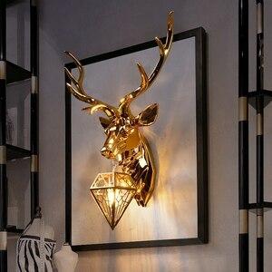 Image 1 - BDBQBL Vintage Creative LED Christmas Deer Antler Wall Lamp Deer Lamp Bedroom Buckhorn Kitchen Bar Decor Luminaire