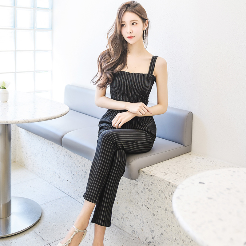 2019 Summer New Style WOMEN'S Dress Debutante Loose-Fit Stripes Camisole + High-waisted Elastic 9 Powder Pants Suit