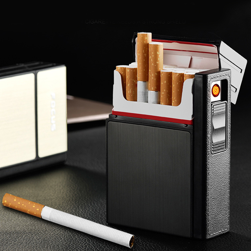 Caixa de cigarros de plástico & alumínio portátil com isqueiro homem de negócios removível usb carregamento mais leve pode conter 20 cigarros