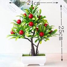 24 × 25センチメートルグリーン小さな木赤人工果物鉢植え盆栽クリスマスウェディングパーティーホームの庭の寝室のインテリア偽の植物