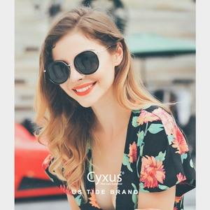 Image 4 - Cyxus Retro Ronde Gepolariseerde Zonnebril Voor Vrouwen Uv 400 Mirrored Brillen 1001