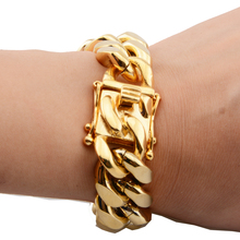 Gold Color Heavy Huge Stainless Steel Miami Curb Cuban Link Chain Bracelet Bangle 8-11 Inches Customized Length For Men 16/18mm