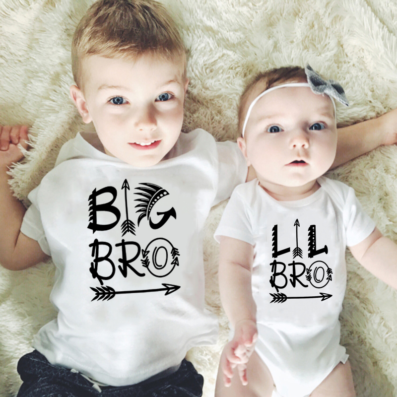 Newborn Baby Cotton Romper Little Brother Kids Boys Big Brother Tshirt Famliy Matching Clothes Siblings Cousins Brothers Outfit