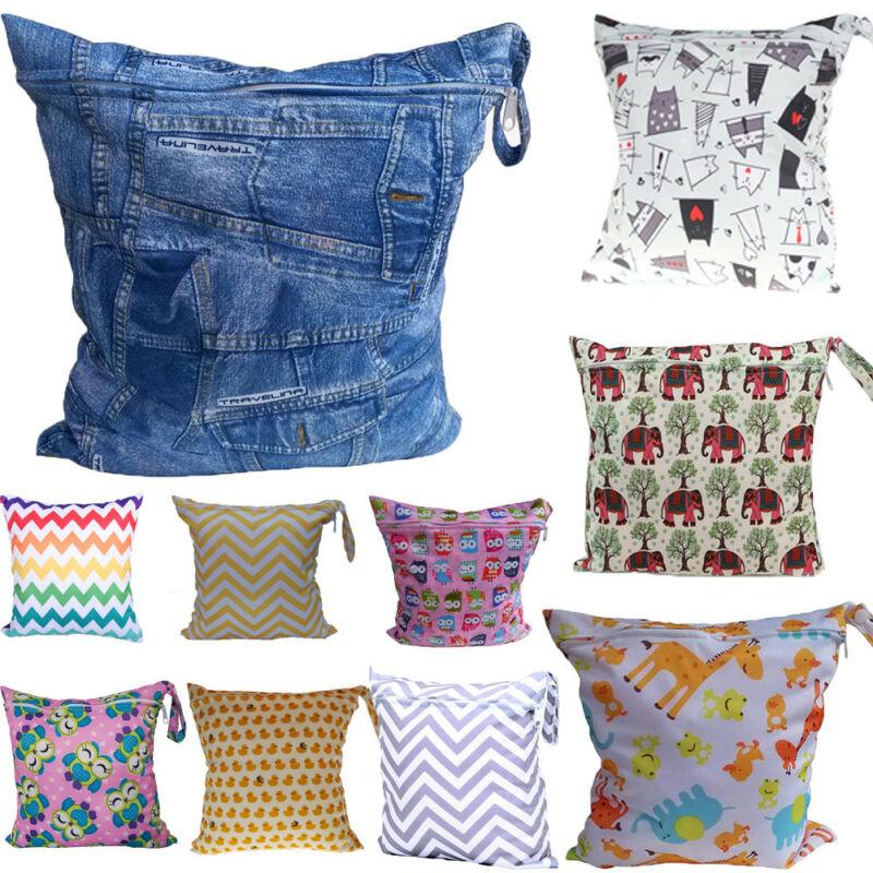 2019 Waterproof Cartoon Colorful Print Zipper Wet Bag For Babies Cloth Nappy Diaper Bag Wipes Swimwear Picnic Pool Reusable