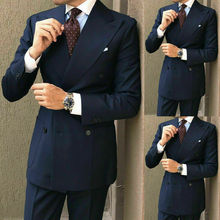 Suits Groom Jacket--Pants Wedding Formal Peak Navy-Blue 2pieces Tuxedos Party Party
