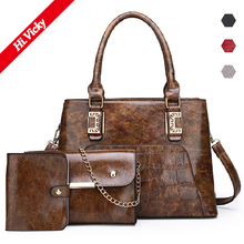 2019 New Women PU Leather Handbag Luxury Tote Bags Ladies Shoulder Bag Female Messenger Purse Sac a Main 3Pcs/Set