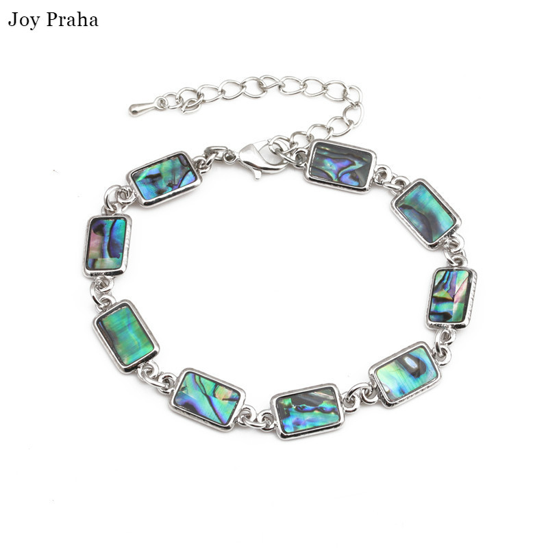 Natural hand shell bracelet Colorful abalone shells rectangular geometric bracelet in Chain Link Bracelets from Jewelry Accessories