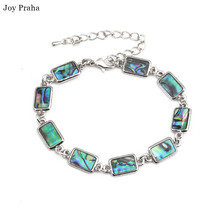 Natural hand shell bracelet / Colorful abalone shells rectangular geometric