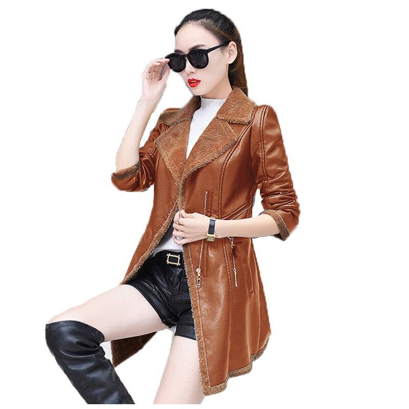 faux   leather   coat women gray green khaki loose tops PU jacket 19 autumn winter new korean lapel fashion Plus velvet jacket LR540