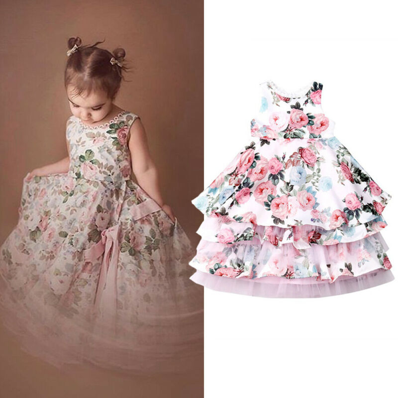 Girls Princess Dress Flower Party Wedding Bridesmaid Pageant Kid Formal Dresses