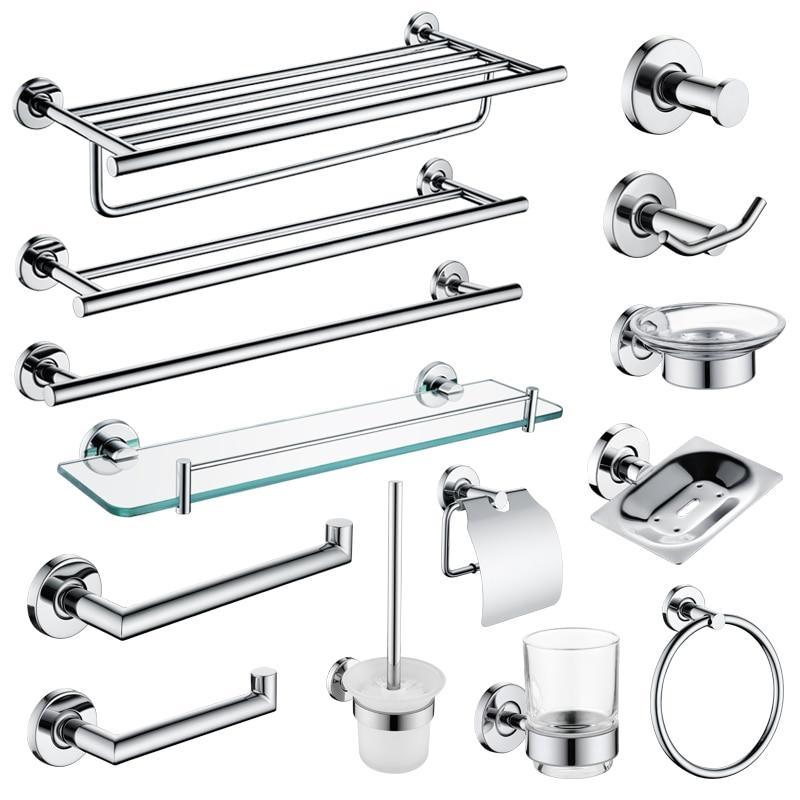 Bathroom Accessories Hardware Set Polished SUS304 Toilet Brush Paper Holder Toothbrush Holder Towel Bar Rack Bathroom Shelves