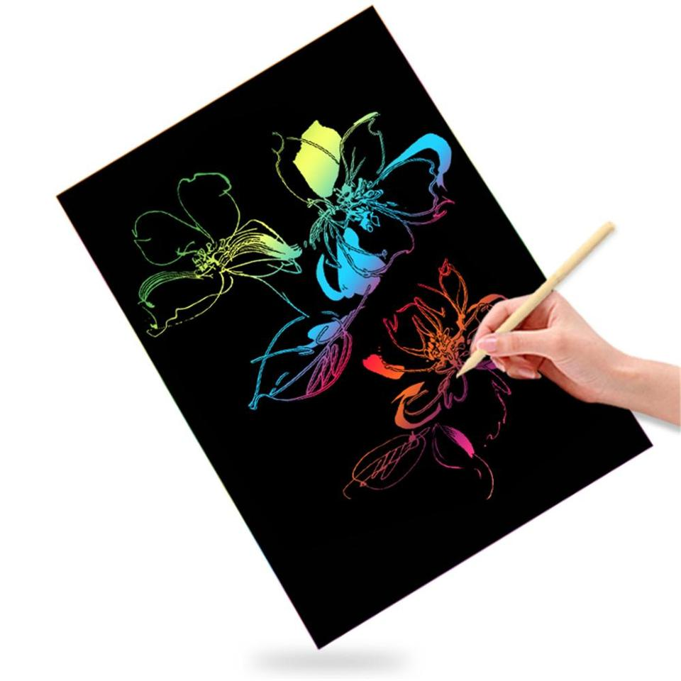 Satisfounder Scratch Paper Art Kits 68 Pcs Rainbow Magic Scratch Off Notes Boards Sheets Arts and Crafts Supplies Set for Kids Boys Girls Party Game/Easter Christmas Birthday Gifts