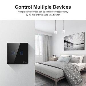 Image 4 - Sonoff T2 Uk T3 Black Wifi Smart Switch 1 2 3 Bende Slimme Schakelaar Glas Panel Wifi Touch Schakelaars werken Met Alexa Google Thuis