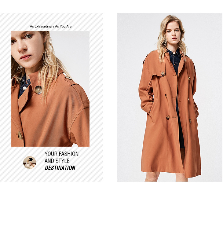 ONLY 19 Women's Loose Fit Long Wind Coat |119136568 10