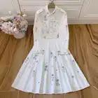 Rode RoosaRosee Designer Herfst Vrouwen Katoen Tweedelige Wit Set High End Luxe Diamant Lange Mouw Blouse + Plooirok pak