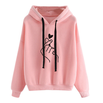 Oversize Heart Print Hooded Pullover Long Sleeve Solid Color Hooded Sweatshirt Oversized Hoodie Casual Loose Cotton Hoodies цена 2017