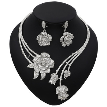 Abstract Flower Pendant Pattern Rhinestone Jewelry Set  2