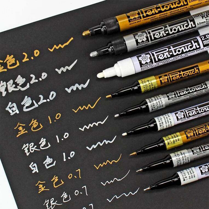 Permanent Metallic Marker Pens White Silver Gold Paint Pen Marker for Paper Glass Fabric CD Tire DIY