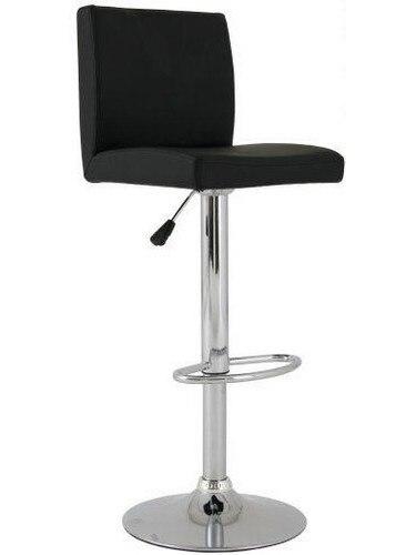 Stool ALBANO (L), Chrome, Upholstered Black