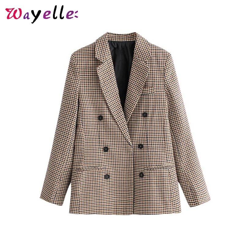 OL Women Blazers and Jackets Long Sleeve Plaid OL Women Blazer Double Breasted Casual Chic Retro women jackets Blazer Feminino