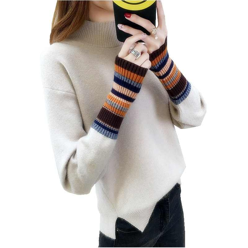 2019 shirt lange mouwen netto rood mouw hoofd trui vrouwelijke herfst winter pak nieuwe Koreaanse versie losse losse korte